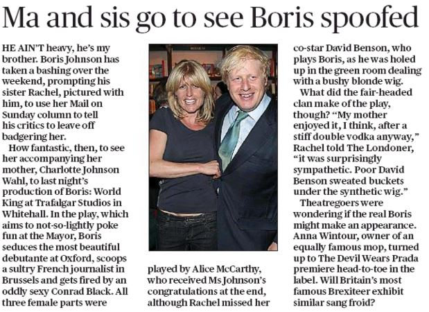 Evening Standard Diary mention - Boris World King